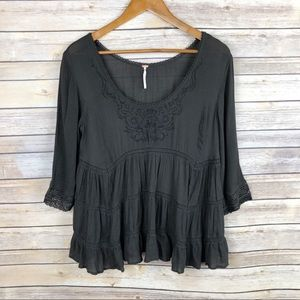 Free People Tiered Embroidered Lace Trim Top Sz S